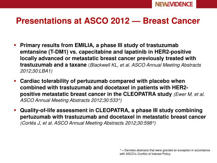 Presentations at asco 2012 breast cancer