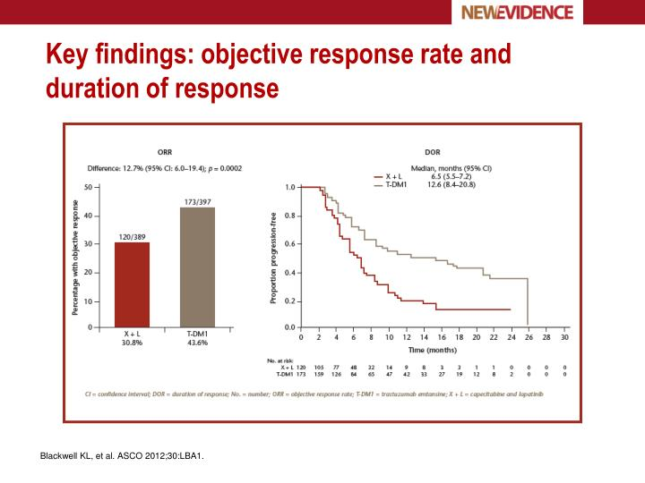 Key findings: objective response rate and duration of response