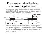 placement of mixed loads for maximum negative shear