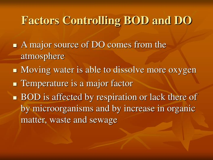 Factors Controlling BOD and DO