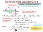 example for mech equilibrium cont d
