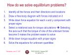 how do we solve equilibrium problems