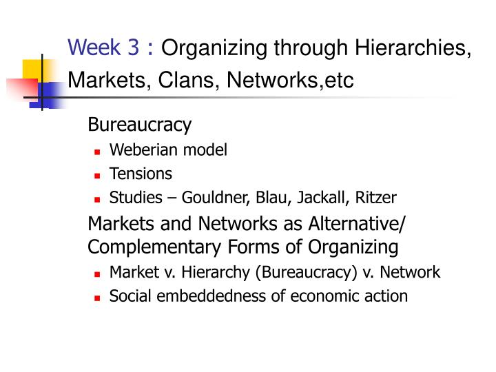 week 3 organizing through hierarchies markets clans networks etc n.