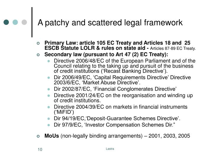 A patchy and scattered legal framework