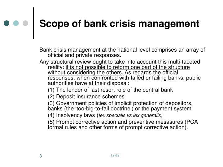 Scope of bank crisis management