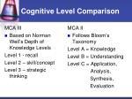 cognitive level comparison1