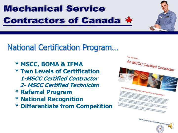 National Certification Program…