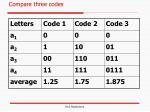 compare three codes