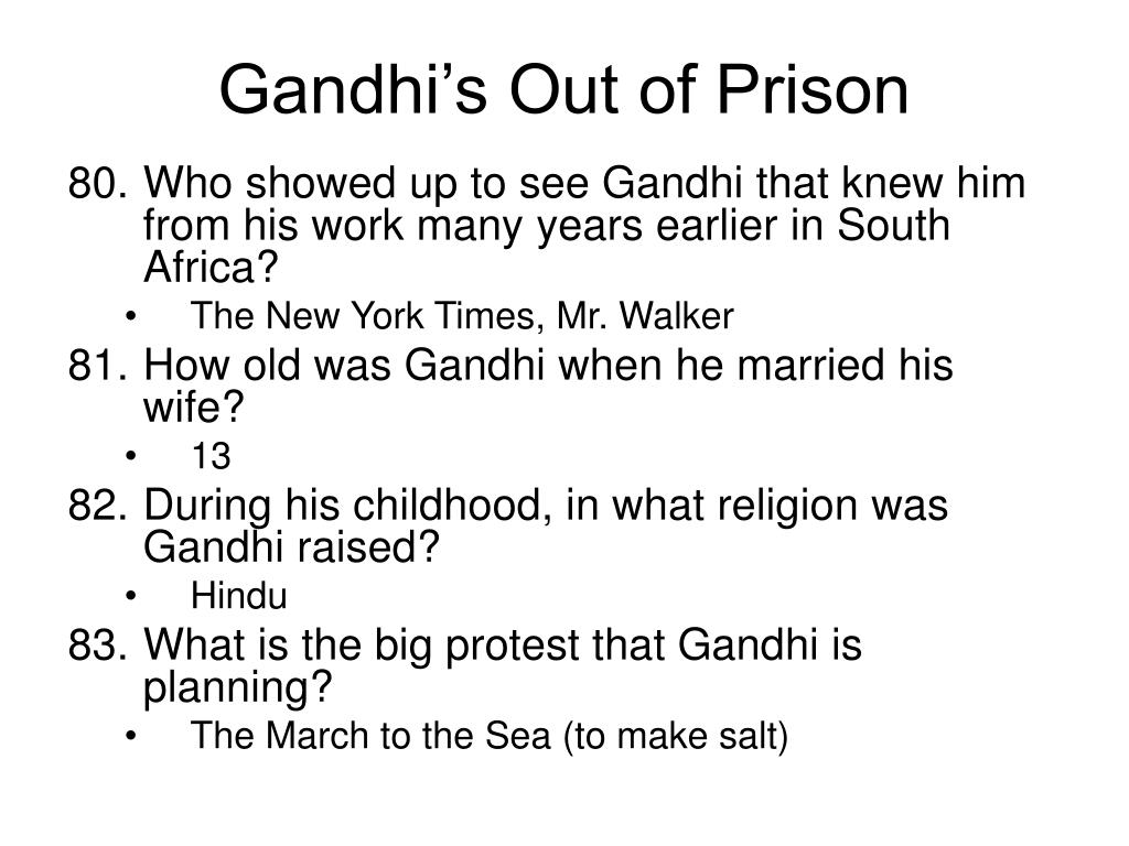 Gandhi's Out of Prison