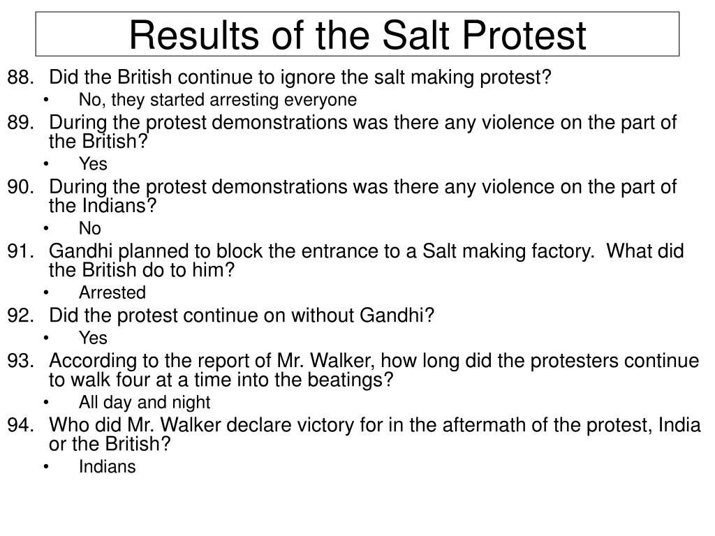 Results of the Salt Protest