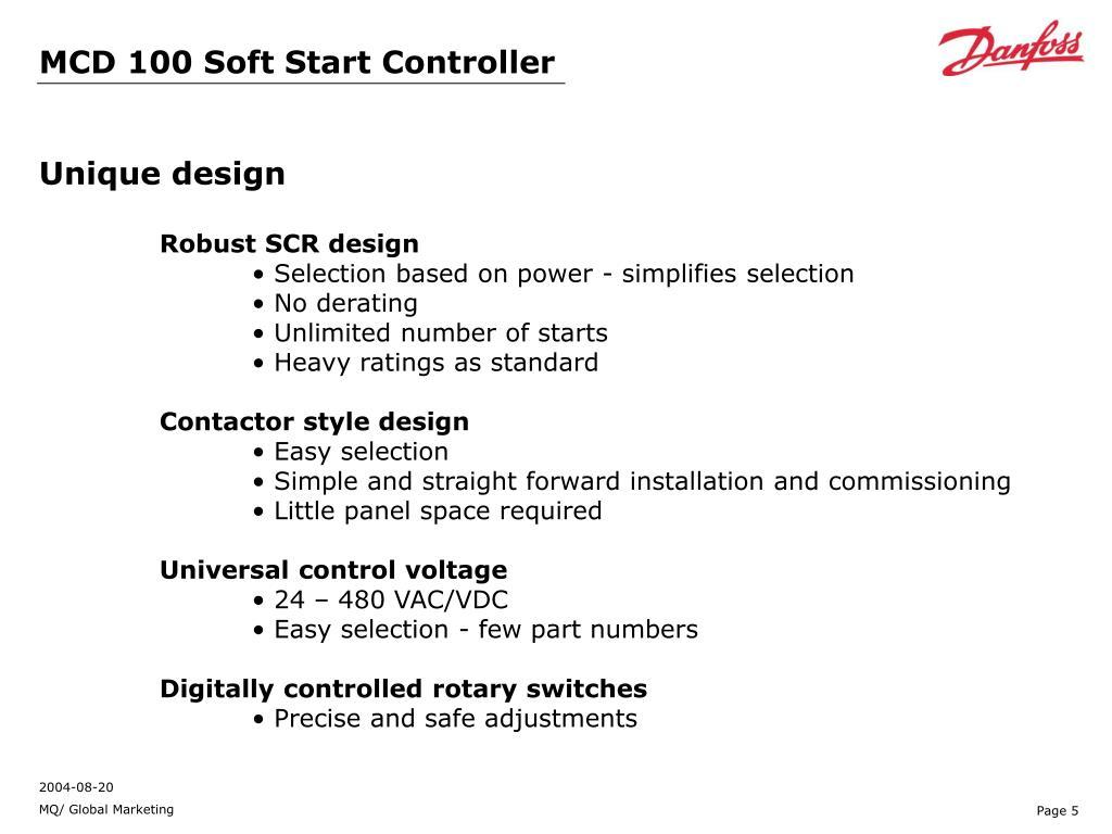 PPT - VLT Soft Start Controller MCD 100 PowerPoint
