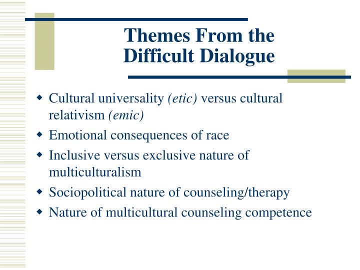 Themes from the difficult dialogue