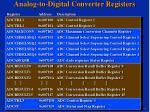 analog to digital converter registers