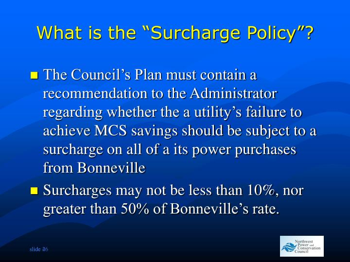 """What is the """"Surcharge Policy""""?"""