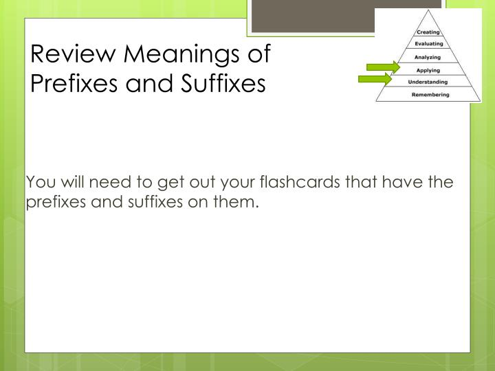 review meanings of prefixes and suffixes n.