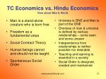 tc economics vs hindu economics view about man world