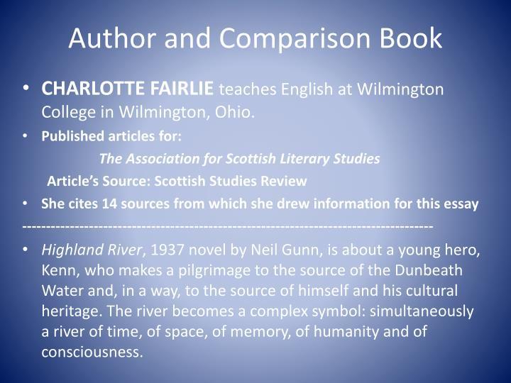 Author and comparison book