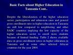 basic facts about higher education in tanzania cont9