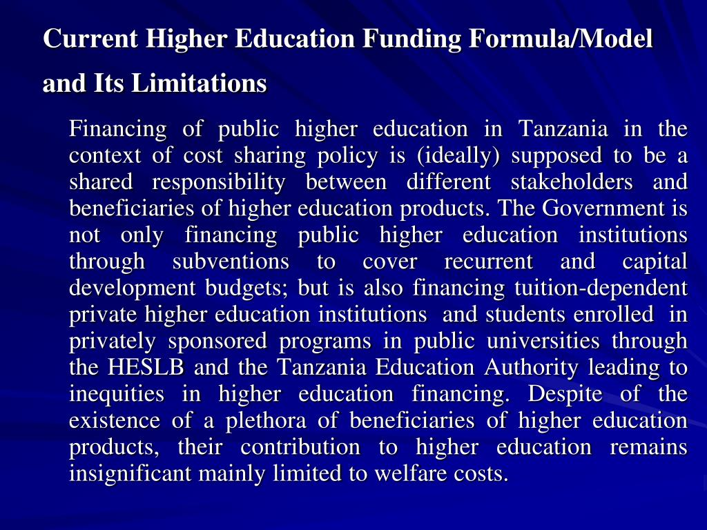 Current Higher Education Funding Formula/Model and Its Limitations