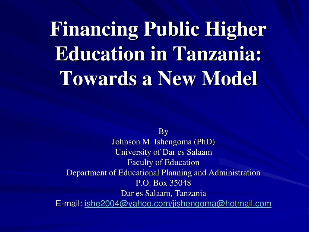 financing public higher education in tanzania towards a new model l.