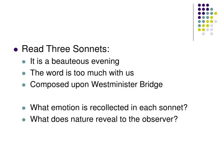 Read Three Sonnets: