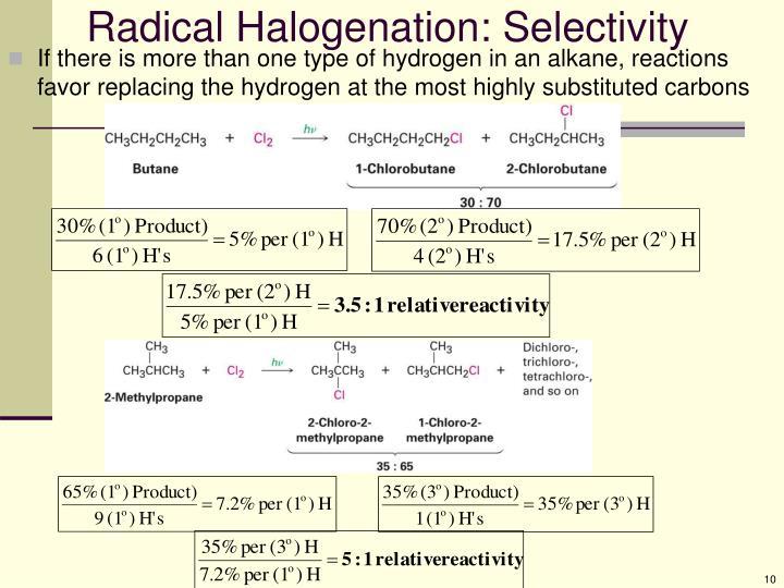 Radical Halogenation: Selectivity