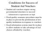 conditions for success of student aid vouchers