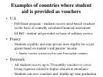 examples of countries where student aid is provided as vouchers