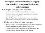 strengths and weaknesses of supply side vouchers compared to demand side vouchers