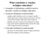 what constitutes a voucher in higher education