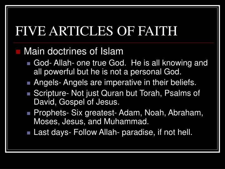 FIVE ARTICLES OF FAITH