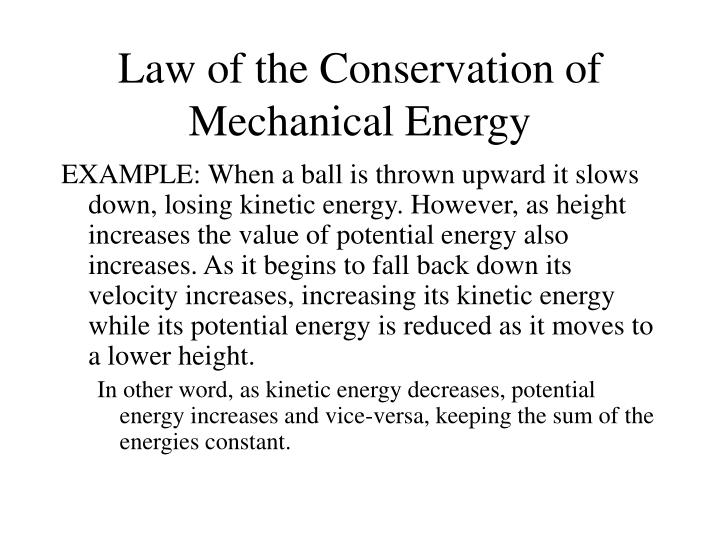 PPT - Law of the Conservation of Mechanical Energy PowerPoint ...