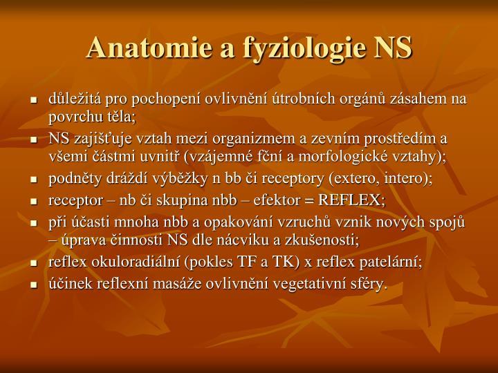 Anatomie a fyziologie NS