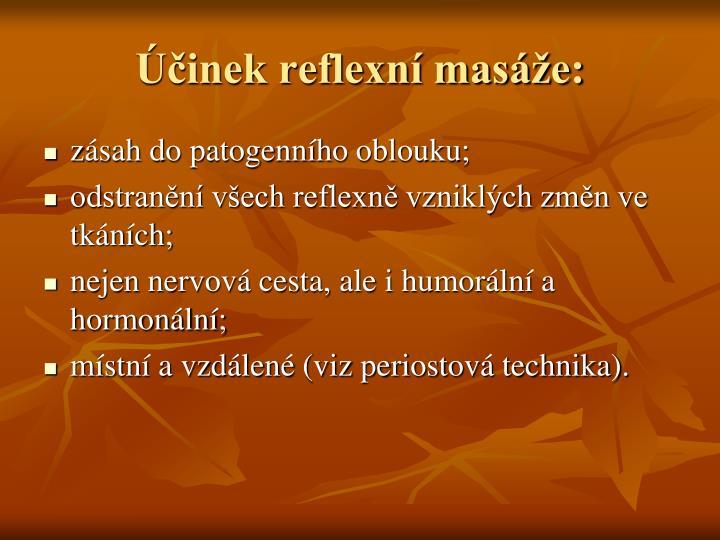 Účinek reflexní masáže: