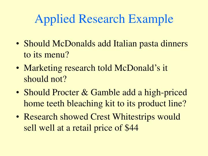 Applied Research Example