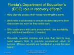 florida s department of education s doe role in recovery efforts