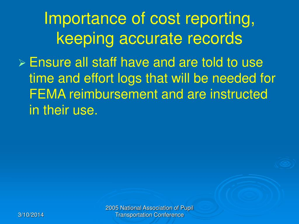 Importance of cost reporting, keeping accurate records