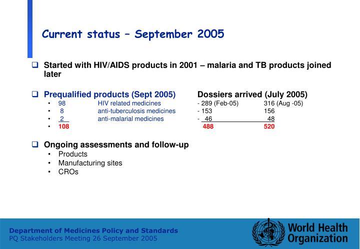 Current status – September 2005