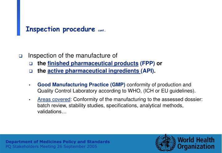 Inspection procedure