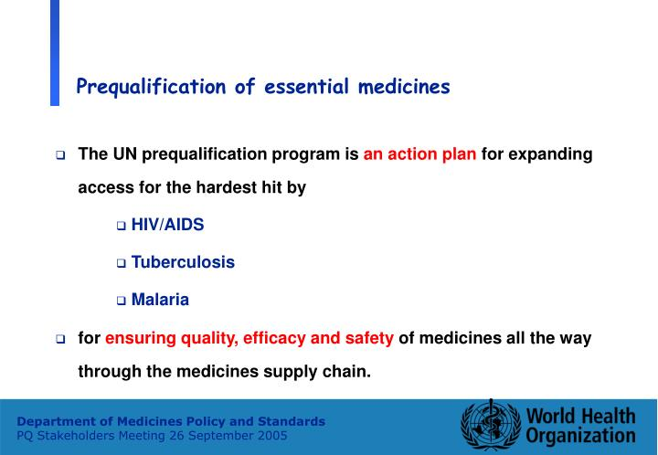 Prequalification of essential medicines