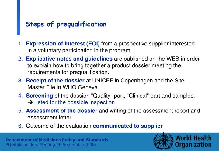 Steps of prequalification