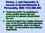 davies j and alexander c journal of social behavior personality 2005 17 1 285 338