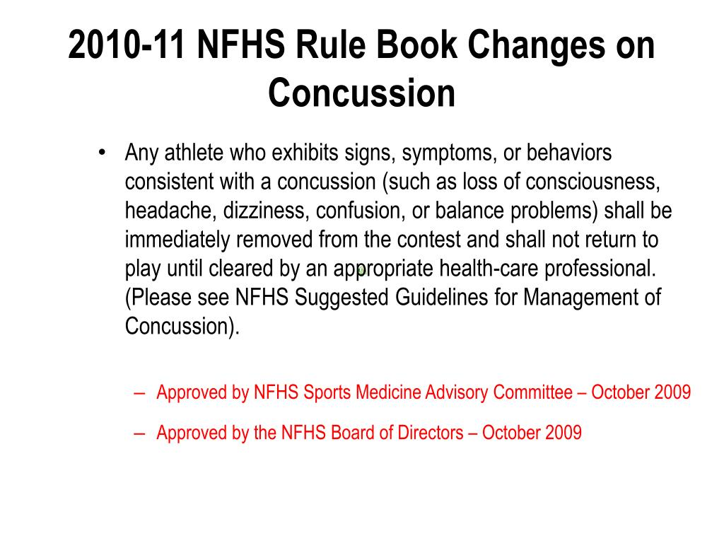 2010-11 NFHS Rule Book Changes on Concussion