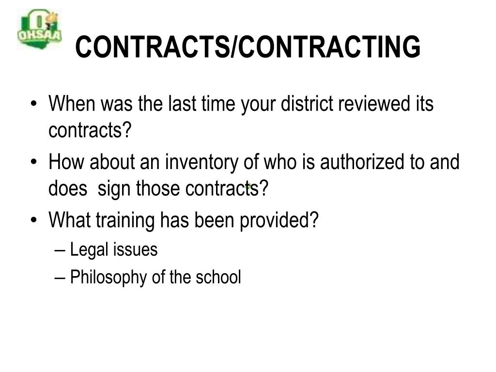 CONTRACTS/CONTRACTING