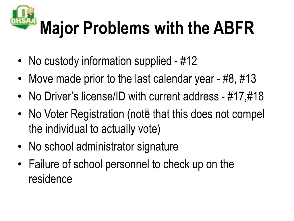 Major Problems with the ABFR