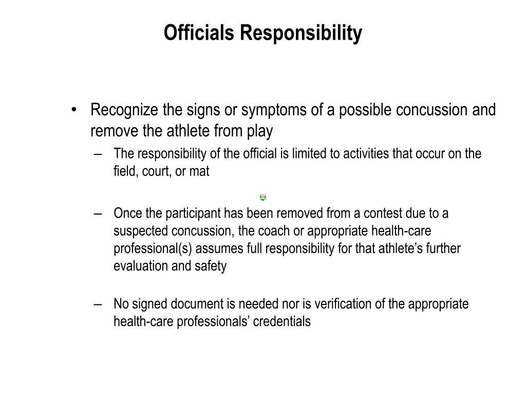 Officials Responsibility