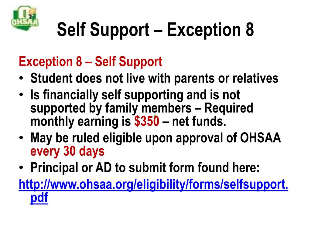 Self Support – Exception 8
