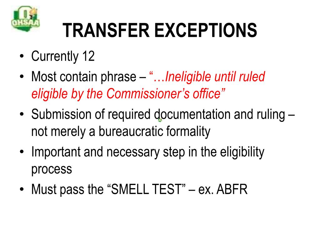 TRANSFER EXCEPTIONS