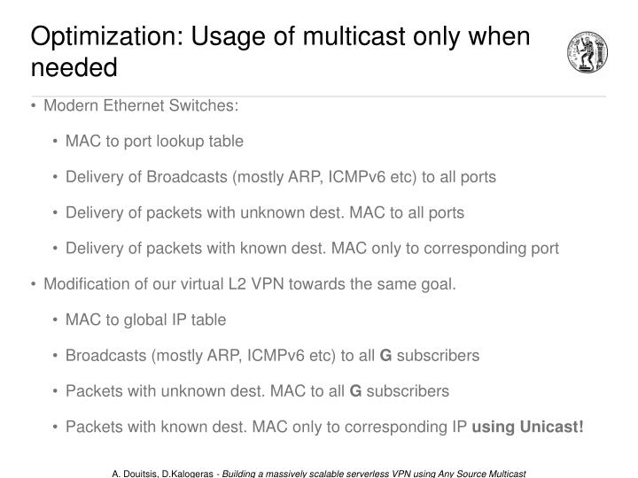 Optimization: Usage of multicast only when needed