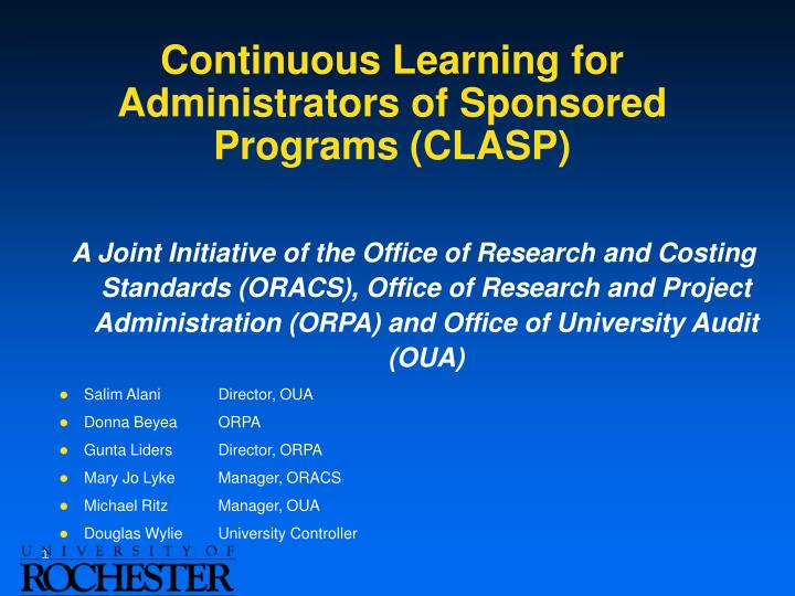 Continuous learning for administrators of sponsored programs clasp